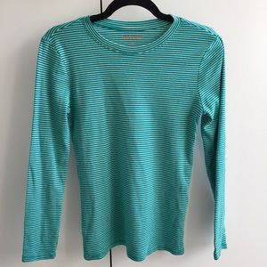 Teal and white striped t shirt